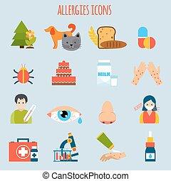 アレルギー, セット, アイコン