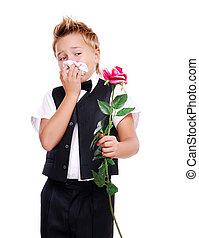 アレルギー, 男の子, 花, 持つこと