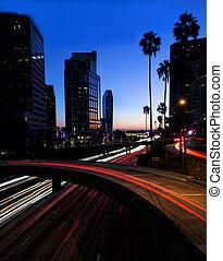 アンジェルという名前の人たち, 建物, 高速道路, los, 夜, 光景