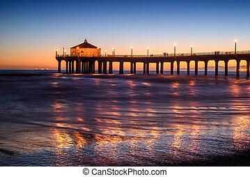 アンジェルという名前の人たち, 浜, 日没, los, カリフォルニア, 桟橋, マンハッタン