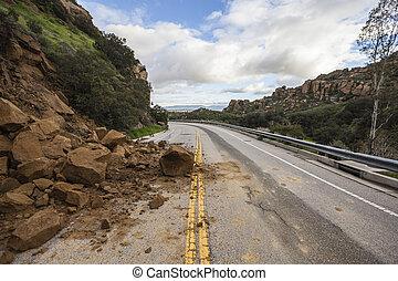 アンジェルという名前の人たち, los, 峡谷, カリフォルニア, 地すべり, 道