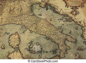 アンティークな地図, の, イタリア