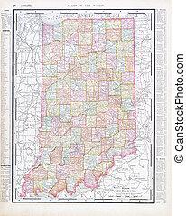 アンティークな地図, アメリカ, 色, 型, インディアナ