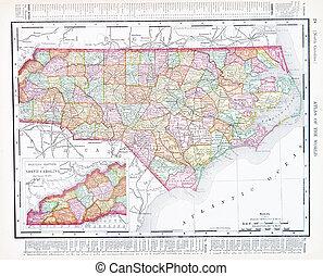 アンティークな地図, 合併した, 北, アメリカ, カロライナ, 州, nc
