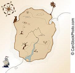 アンティークな地図, 宝物, ベクトル