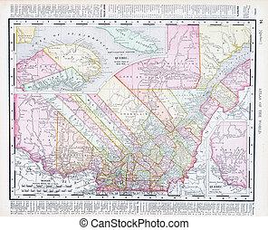 アンティークな地図, 色, 型, ケベック, カナダ, 州