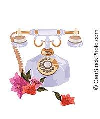 アンティークな電話, スタイル, ベクトル, レトロ