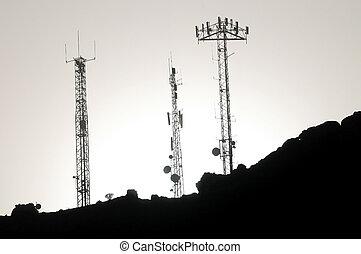 アンテナ, いくつか, silhouetted