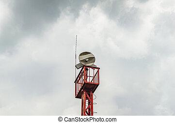 アンテナ, sky., 曇り, 接続, 背景, タワー