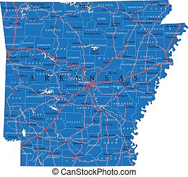 アーカンソー, 州, 政治的である, 地図