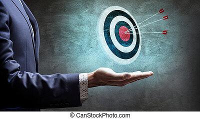 アーチェリーターゲット, rendering., arrows., ビジネスマン, ショー, 3d