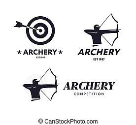 アーチェリー, ベクトル, ターゲット, logo., 抽象的, competition., 弓, arrow., 射手...