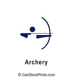 アーチェリー, icon., スポーツ, pictogram, 新しい