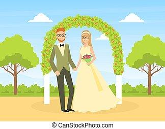 アーチ, イラスト, 平ら, 幸せ, 花, 自然, ベクトル, 新婚者, の後ろ, 地位, 結婚式の カップル, 式