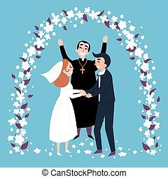 アーチ, 新婚者, 司祭, 結婚式, 幸せ