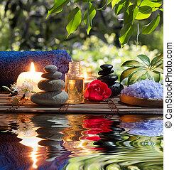 アーモンド, タオル, 蝋燭, 石
