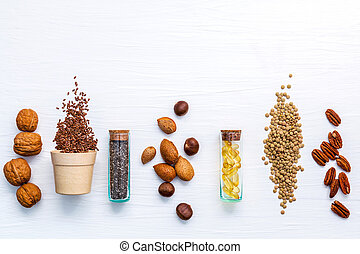 アーモンド, ヒラマメ, 木製である, 食品。, バックグラウンド。, 極度, 選択, 3, 源, 種, 健康に良い食物...