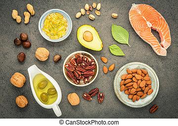 アーモンド, e, 食品。, バックグラウンド。, 選択, 3, ヘイゼルナッツ, 源, 繊維, オリーブ, ビタミン, 鮭, fats., クルミ, superfood, 健康, 食事である, オイル, 食物, 石, オメガ, fish, 高く, 不飽和, オイル