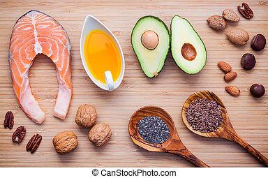 アーモンド, e, 食品。, 極度, 選択, 3, board., 源, 繊維, ビタミン, 鮭, 切断, fats., 種, 健康, 食事である, chia, 食物, オメガ, クルミ, 高く, 竹, 不飽和, オイル