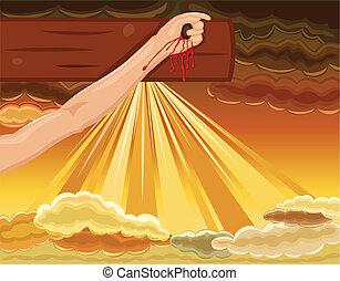 イエス・キリスト, はりつけ, -, くぎで打ち付けられた, 手, 交差点