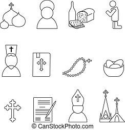 イエス・キリスト, アイコン, セット, キリスト, ベクトル