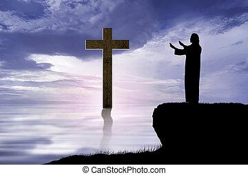 イエス・キリスト, 祈ること, シルエット, 手の 上昇