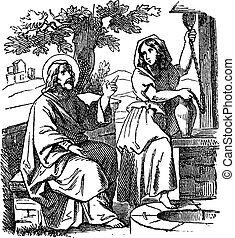 イエス・キリスト, 話, 女, 聖書, 図画, 聖書, 新約聖書, 4, samaritan, well., ジョン, 物語, 型, 新しい