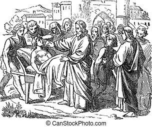 イエス・キリスト, 7, 聖書, 死んだ, 図画, 昇給, 聖書, 新約聖書, widow., 息子, ルーク, 物語, 型, 新しい