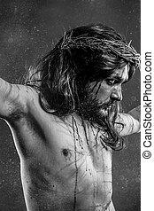 イエス・キリスト, calvary, 人, 出血, 代表, の, 情熱, ∥で∥, とげの王冠