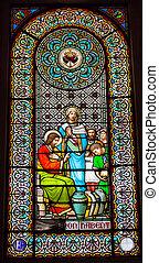 イエス・キリスト, catalo, モンセラート, ガラス, mary, 修道院, cana, 窓, 汚された