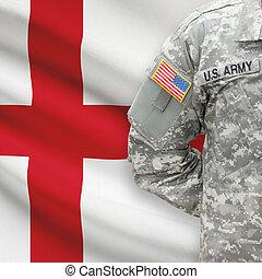 イギリス\, -, アメリカ人, 兵士, 旗, 背景