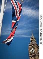 イギリス\, ビッグベン, 旗, イギリス, 前部, ロンドン, 風