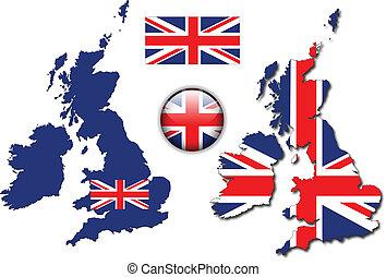 イギリス\, ボタン, 旗, 地図, ベクトル, イギリス