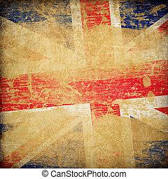 イギリス\, 旗, グランジ, バックグラウンド。