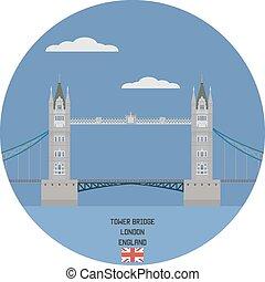 イギリス\, 有名な場所, タワー橋, london.