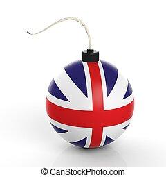 イギリス, 隔離された, 爆弾, 砲弾, 旗, バックグラウンド。, 白