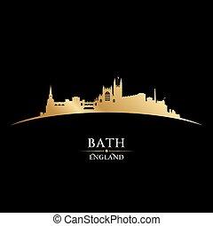 イギリス\, 黒い背景, スカイライン, 都市, 浴室, シルエット