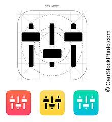 イコライザ, icon., ボリューム, control.