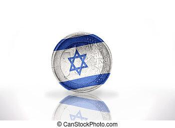 イスラエル共和国 旗, 背景, 白, コイン, ユーロ