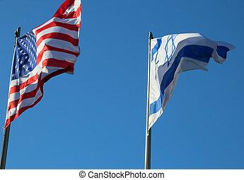 イスラエル, アメリカ人, 空の飛行, 旗, 青
