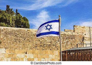 """イスラエル, イスラエル, エルサレム, 西部, """"wailing"""", 壁, 旗"""