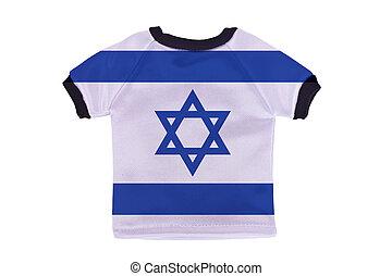 イスラエル, ワイシャツ, 隔離された, 旗, 背景, 小さい, 白