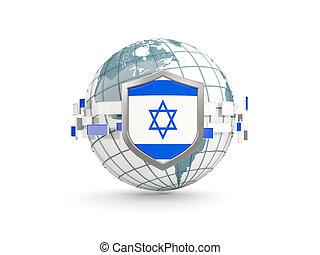イスラエル, 保護, 地球, 隔離された, 旗, 白