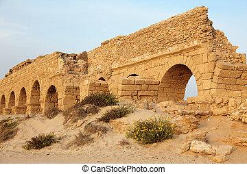 イスラエル, 古代, 古い, 水路, 地中海, ceasarea, ローマ人, 日没, 海, 海岸