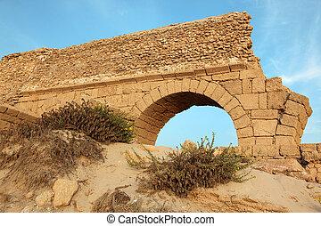 イスラエル, 古代, 水路, 地中海, ceasarea, ローマ人, 海, 海岸