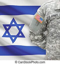 イスラエル, -, 旗, 兵士, アメリカ人, 背景