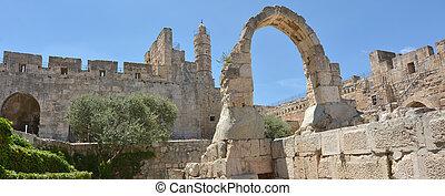 イスラエル, -, david, タワー, エルサレム, 要さい