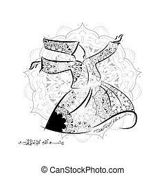 イスラム教, ダンス, ぐるぐる回る, religion., ダルウィーシュ, dervishes., ダンス,...