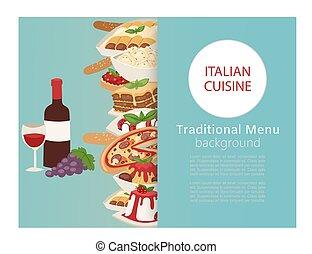 イタリア語, デザート, 昼食, ベクトル, 旗, チーズ, 食物, ピザ, スパゲッティ, 料理, 料理, illustration., ワイン, パスタ