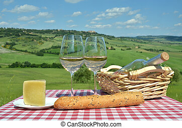 イタリア, に対して, tuscan, テーブル, 白, landsacpe, ワイン